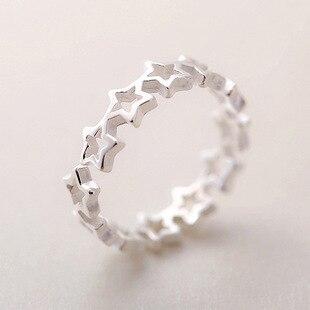 925 Sterling Silber Sterne Ringe Für Frauen Neue Design Schöne Mädchen Weihnachten Geschenk Erklärung Schmuck Einstellbare Größe Ring
