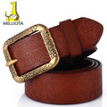 [MILUOTA] High quality Classic fashion 100% genuine leather belts for women vintage Carved belt brand strap LW191