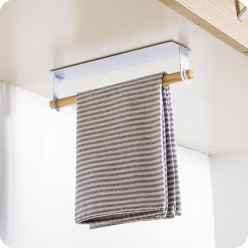Self-Adhesive Behind Door Iron Towel Hanger Rack Wood Bar Hanging Kitchen Cabinet Cloth Drying Stand