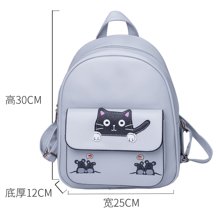 2018 New Women Leather Backpacks Fashion Fresh Women Cartoon Cat Printed Backpacks for Teenager Girls Travel Backpack Ladies Bag