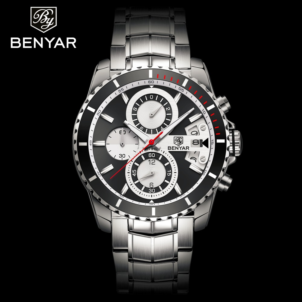 BENYAR Full Steel Business Watch Men Fashion Sport Clock Mens Quartz Watches Top Brand Luxury Waterproof Watch Male Clock Montre longbo top brand luxury lovers watch fashion full steel quartz watch men women waterproof auto date watches unisex hour montre