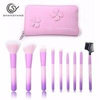 BM makeup brushes 9PCS professional brushes light pink brush set high quality brush with bag portable make up brushes