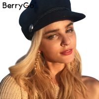 BerryGo Fashion Black Hat Cap Women Casual Streetwear Solid Rope Flat Cap Elegant Autumn Winter Warm