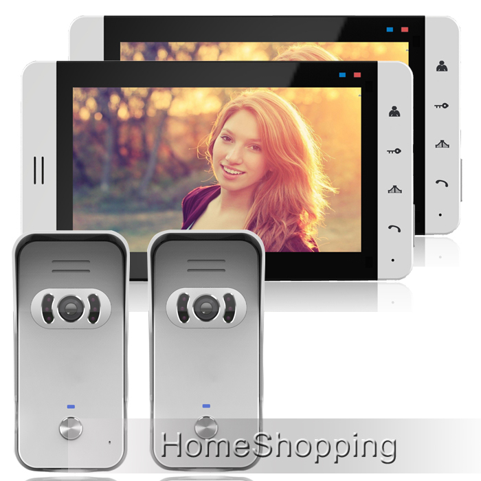 FREE SHIPPING Home New 7 Touch Color Screen Video Doorphone Intercom Kit With 2 White Monitor + 2 Waterproof Door bell Camera 19 inch infrared multi touch screen overlay kit 2 points 19 ir touch frame