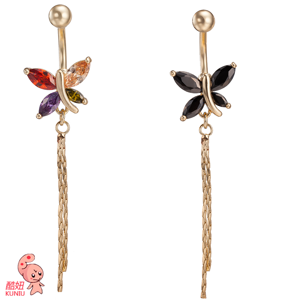 KUNIU New Fashion Woman s butterfly Belly Button Rings Bar Surgical Piercing Sexy Body font b