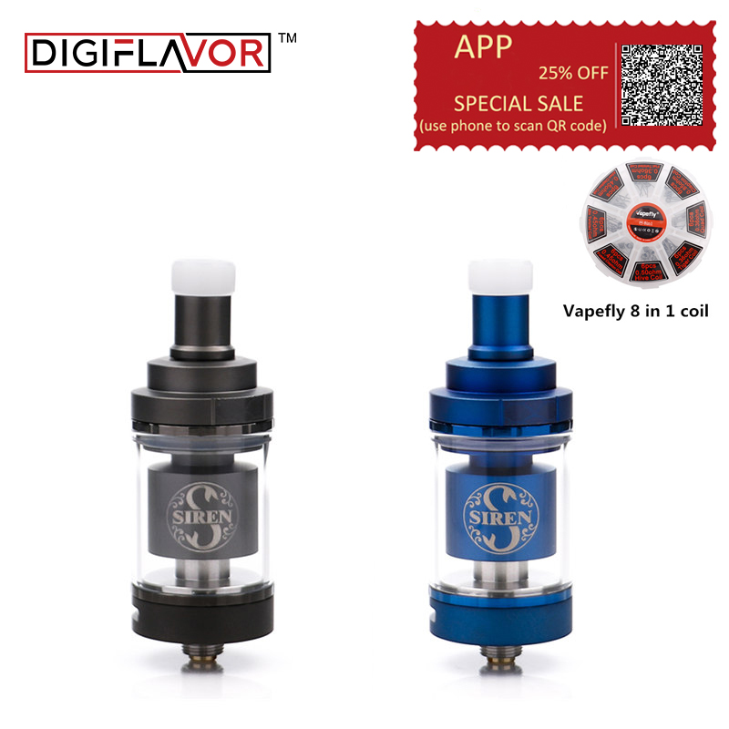 Free gift!!!Original Digiflavor Siren V2 GTA MTL Tank 24mm 4.5ml siren 2 22mm 2ML electronic cigarette atomizer