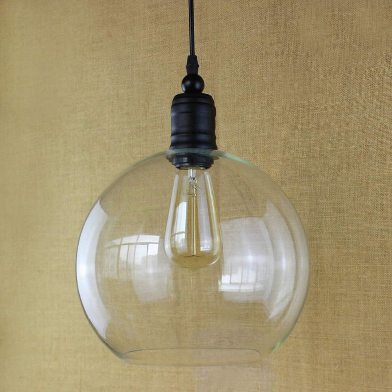 European vintage pendant lights iron white glass hanging bell pendant lamp with Edison Light bulb Kitchen Lights Cabinet Lights - 3