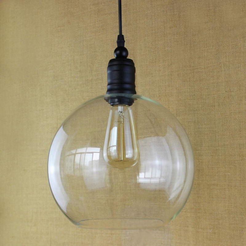 Europeo dell'annata del pendente luci di ferro bianco di vetro appeso campana lampada con la lampadina Edison Luce del pendente Luci Della Cucina Luci Armadio - 3