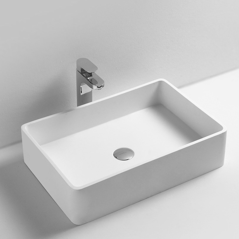 Rectangular bathroom solid surface stone counter top Vessel sink fashionable Corian washbasin RS3812