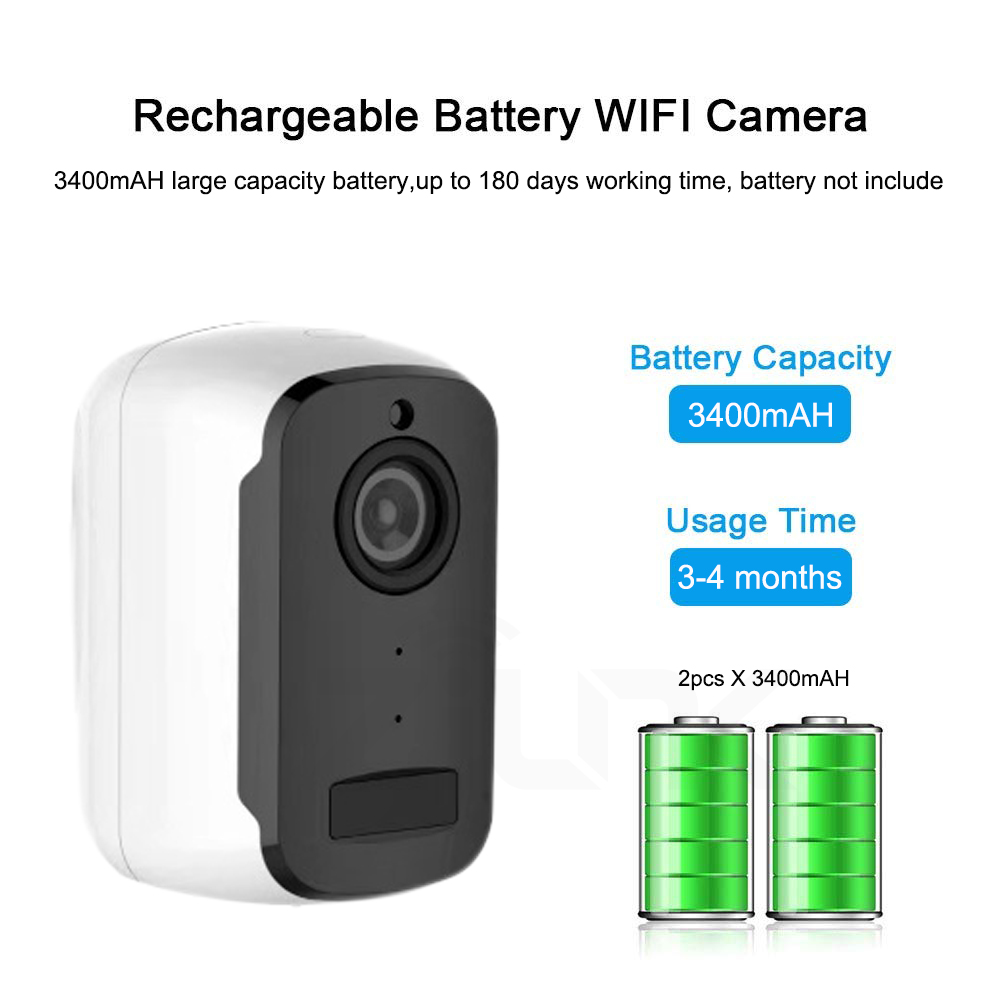 Image 2 - 1080P WIFI Camera Outdoor Rechargeable Battery Powered 2MP Wireless IP Camera Security PIR Waterproof 110 Wide View Angle Tosee-in Surveillance Cameras from Security & Protection
