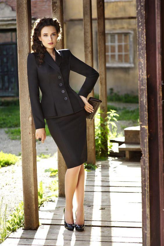 Womens Black Work Wear Suit Formal Ruffle Blazer 2 Set Office Business Coat Skirt Suit B362