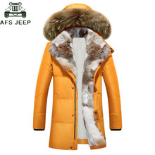 689d1932e15 Длинные парки с капюшоном для мужчин толстая белая утка подпушка теплая  Пара зимняя куртка плюс размеры