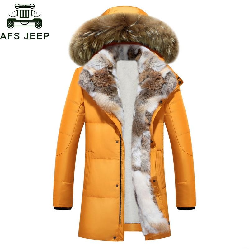 Long Hooded   Parkas   Men Thick White Duck Down Warm Couple Winter Jacket Plus Size 5XL Fur Collar Overcoats   parkas   hombre invierno