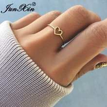 JUNXIN Simple Style Hollow Heart Rings For Women Rose Gold/Silver Color Female Stackable