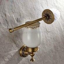 Античная Латунь Настенные Ванная Керамическая Чашка и Латунь Держатель Для Туалетной Щетки Wba490