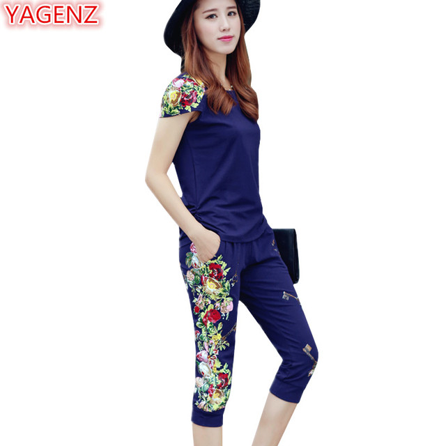 e7f3cbc718 US $22.9 49% OFF|YAGENZ Fashion Women 2 Piece Set Summer Sets Casual  Tracksuit Women Ladies Tracksuits Plus size Two Piece Set Top And Pants  924-in ...