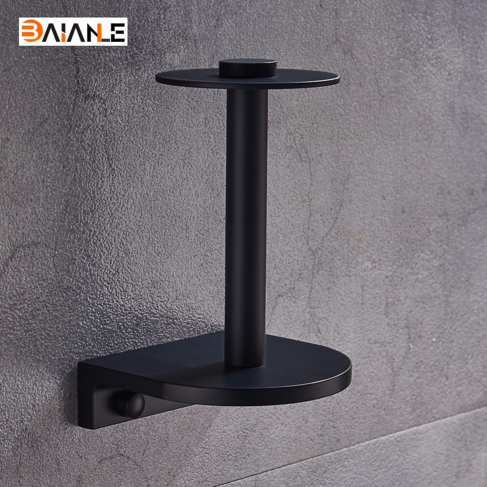 Hot Sale Promotion Modern Black Space Aluminum Wall Mounted Toilet Paper Holder Tissue Bar