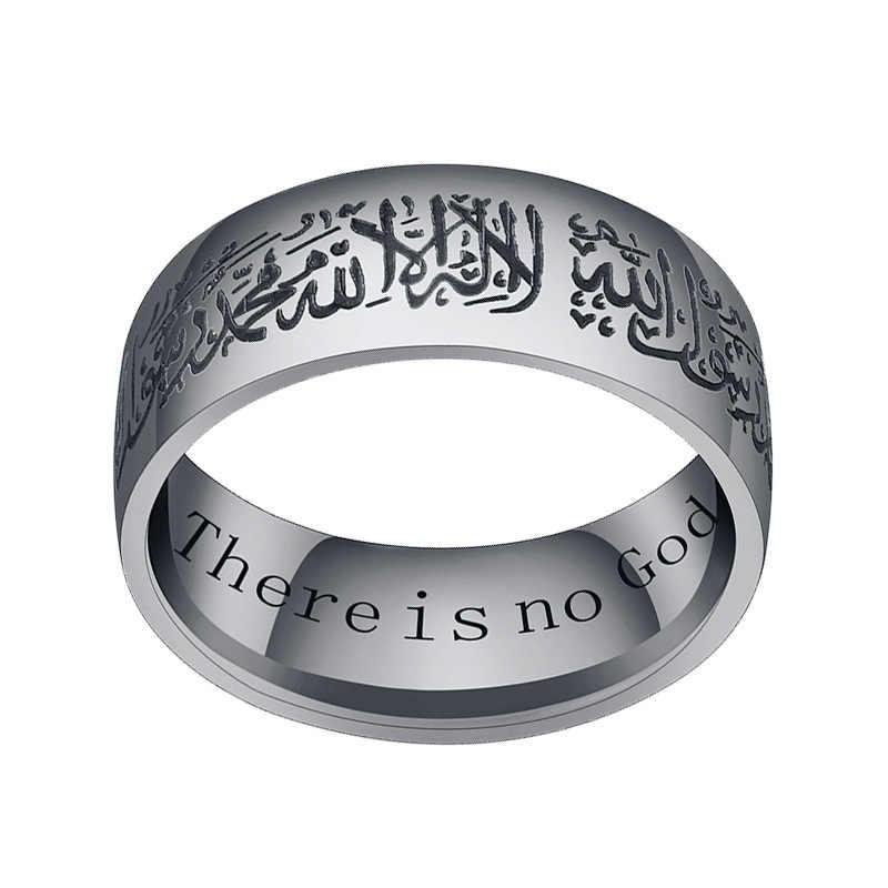 アラブイスラム教徒アッラー God メッセンジャーモハメド · コーランミドルステンレス鋼リング女性ジュエリー卸売