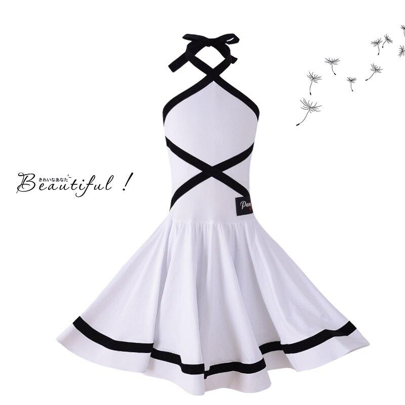 New Comfort White Dance Dress For Girls Latin Dance Sleeveless Training Costumes Dance Wear Children Girls Dance Costumes BL1690