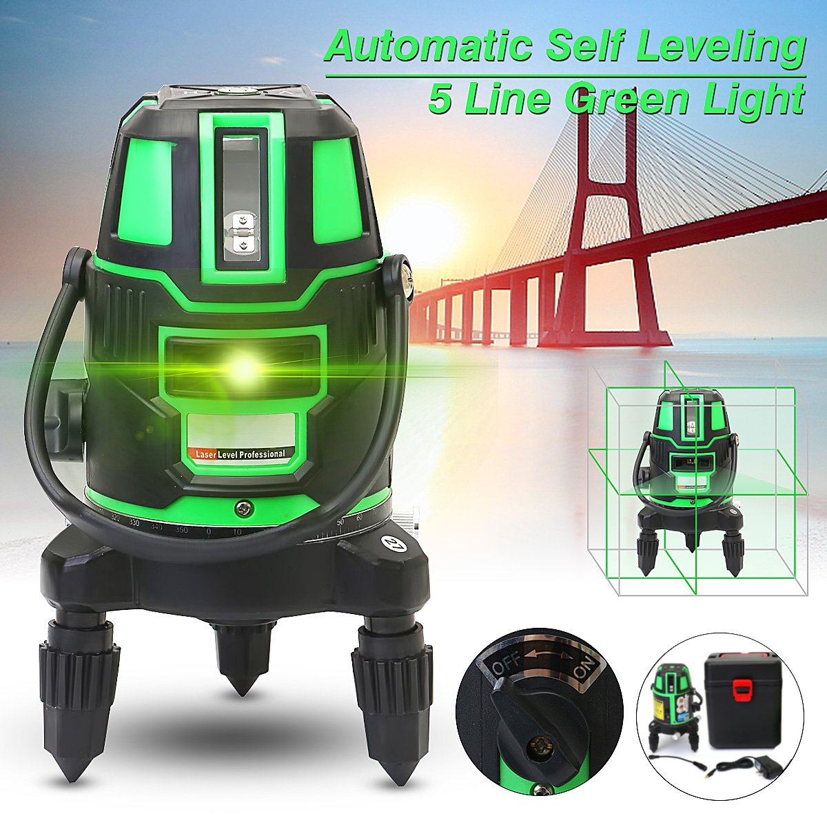 5 Lines 6 Points Green Laser Level 4V 1H 360 Rotary Self Leveling Outdoor Tools Tilt Function встраиваемый счетчик моточасов orbis conta emp ob180800