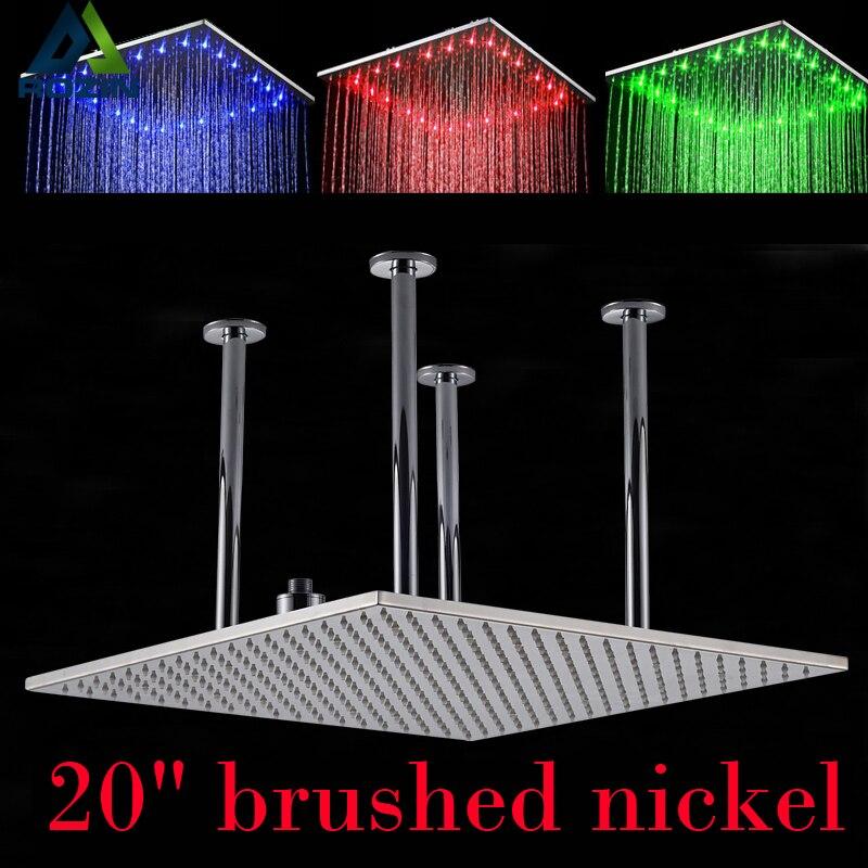Chrome & Brushed Nickel Ceiling Mounted 20 Big Rainfall Shower Head Bathroom LED Light Huge 20 inch Rain Showerhead