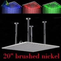 Chrome и щеткой Никель потолочные 20 Большой дождь Насадки для душа Ванная комната свет огромный 20 дюймов дождя