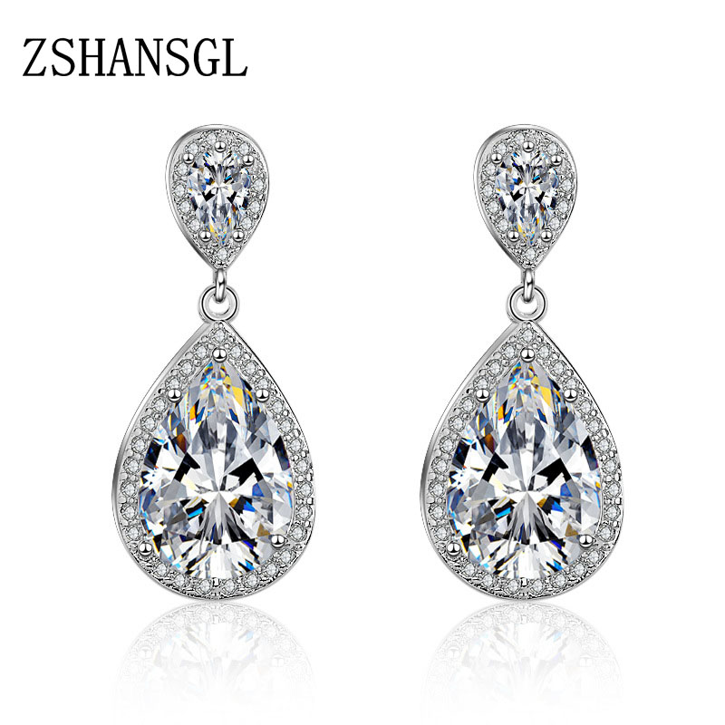 Hot Selling 925 Sterling Silver Stud Earrings Women Water Drop Teardrop Stones AAA 2 colors CZ Jewelry Top Quality EarringsHot Selling 925 Sterling Silver Stud Earrings Women Water Drop Teardrop Stones AAA 2 colors CZ Jewelry Top Quality Earrings