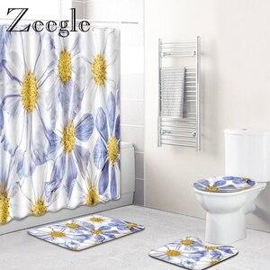 Image 5 - Zeegle Chống Nước Màn Tắm Có Móc Treo Nhà Tắm Bộ Thấm Hút Phòng Tắm Bao Ghế Ngồi Vệ Sinh Thảm Sàn Nhà Tắm Thảm