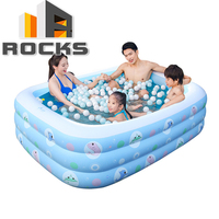 3 Rings 1.5M Inflatable Baby pool baby swimming pool portable children's rectangle shape kids pool