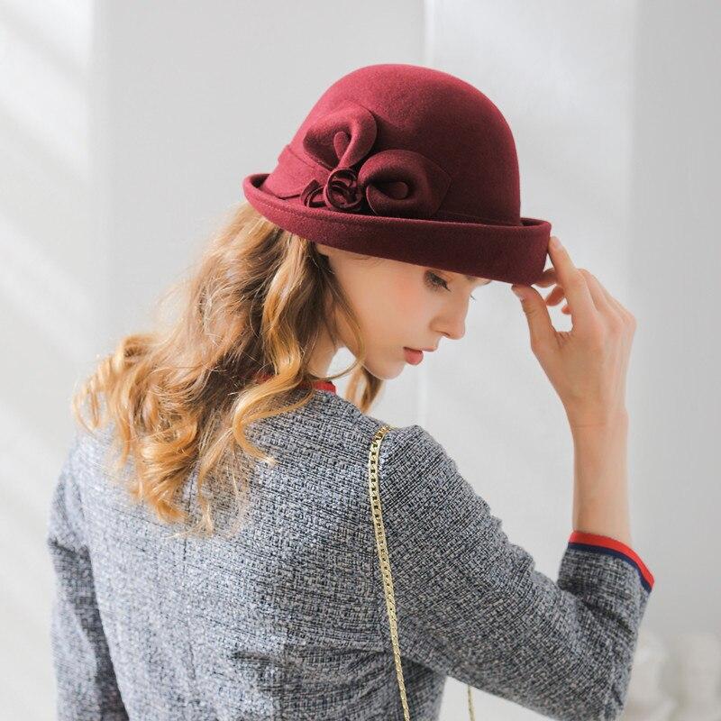 100% Wolle Hut Frauen Mode Fedoras Hüte Dame Elegante Britischen Stil Doppel Blume Dome Kappe Maler Kappe Kuppel Rand Wolle Hut B-8886 Einfach Zu Verwenden