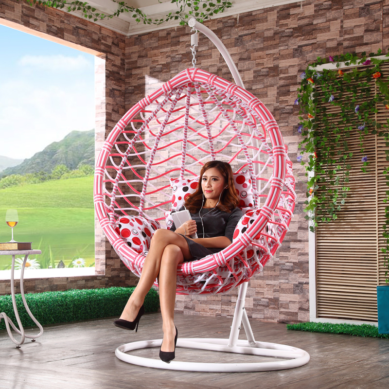 Indoor and outdoor wicker chair hanging swing balcony - Hanging baskets for balcony ...