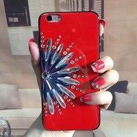 תיקי טלפון נייד עבור iPhone8 Jewelled יהלומי 3D חמניות ברק 8 בתוספת נצנצים הסלולר חזור עטיפות מקרה בהיר מזג זכוכית