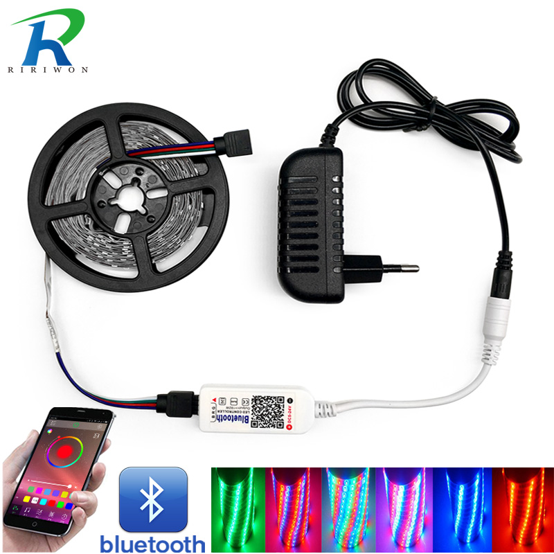 SMD RGB LED Strip Light SMD 2835 5M DC 12V LED RGB Leds Tape Diode Ribbon Flexible Bluetooth RGB Controller+Adapter Strips Set