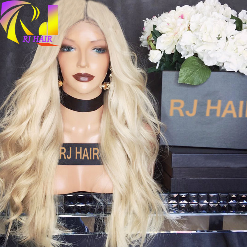 Human Hair Wigs White Women Blonde Lace Front Human Hair Wigs 10A Peruvian  Virgin Hair Full Lace Wigs Body Wave Free Part Style 0dd467df3f