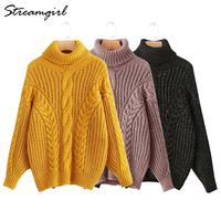 Turtleneck Women Oversized Sweaters And Pullovers Yellow Sweater Truien Womens Sweaters 2018 Winter Pull Femme Warm Sweater