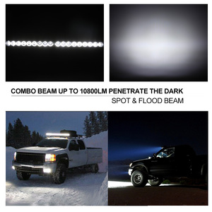 Image 2 - 20 inch 10800LM Spot Flood Led Light Bar with Universal License Plate Frame Mounting Bracket Kit for Truck Car ATV SUV 4X4 Jeep