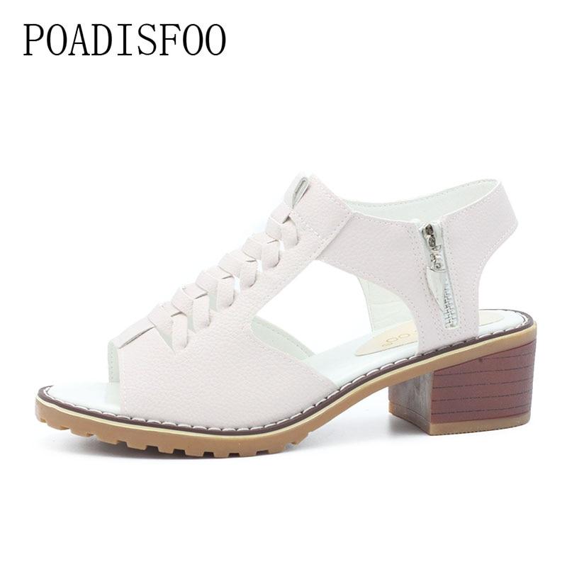 POADISFO New Summer Women's Shoes Sandals peep toe square Heels Solid Sandals Waterproof Women Shoes For Ladies .HYKL-A772 poadisfoo new summer women s shoes sandals peep toe square heels solid sandals waterproof women shoes for ladies hykl a772