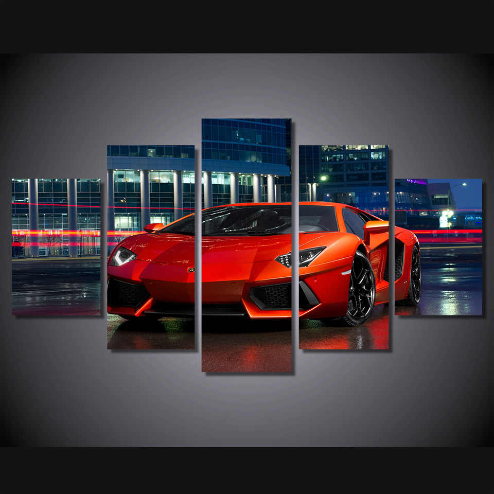 Modular Poster Wall Art Canvas HD Printed Pictures 5 Pieces Red Luxury Sports Car Painting Modern Living Room Home Decor Framed
