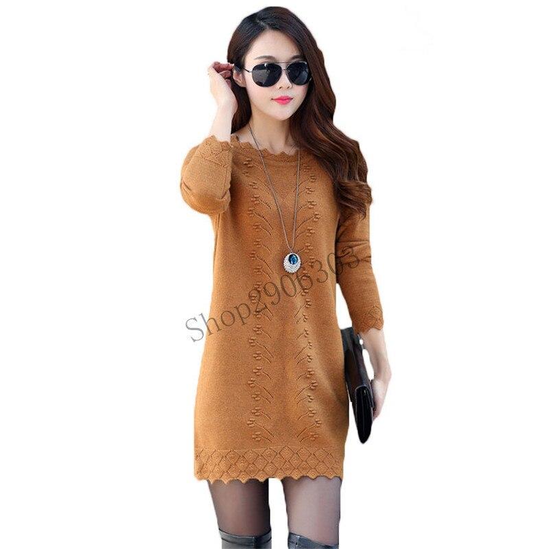 Women Sweaters Dress Pullovers 2017 New Winter Warm Long Knitted Sweater Knitwear Poncho Tunics Gray Black Pink Plus Size L826