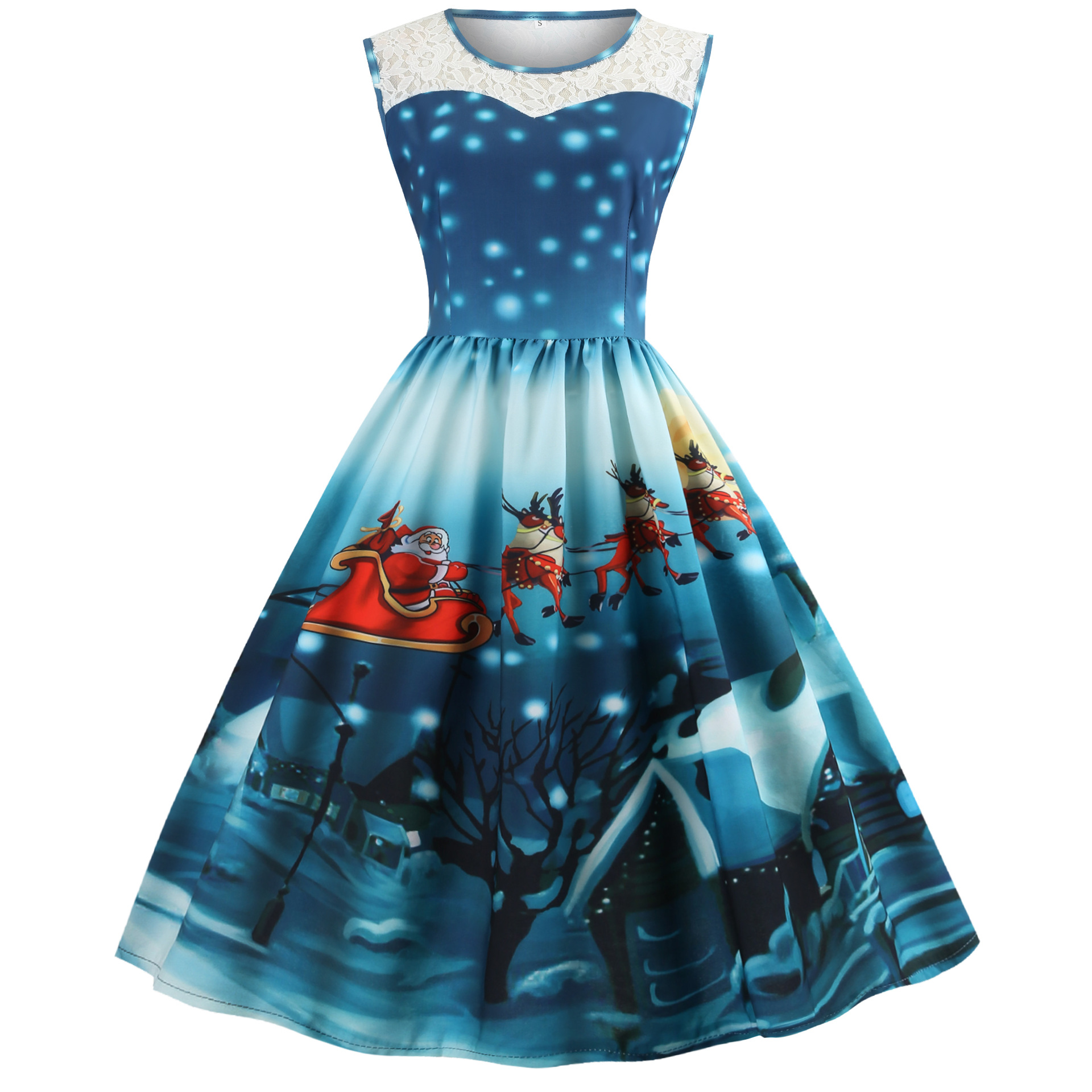 7c2f4491486 S~3XL Plus Size Christmas Dress Women Summer Dress 2018 Sleeveless Retro  Dress Vintage Tunic