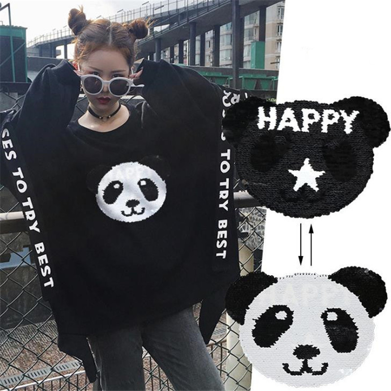 T shirt Women 225mm panda patch filp up and down sequins change color deal with it patches for clothing diy stickers Christmas