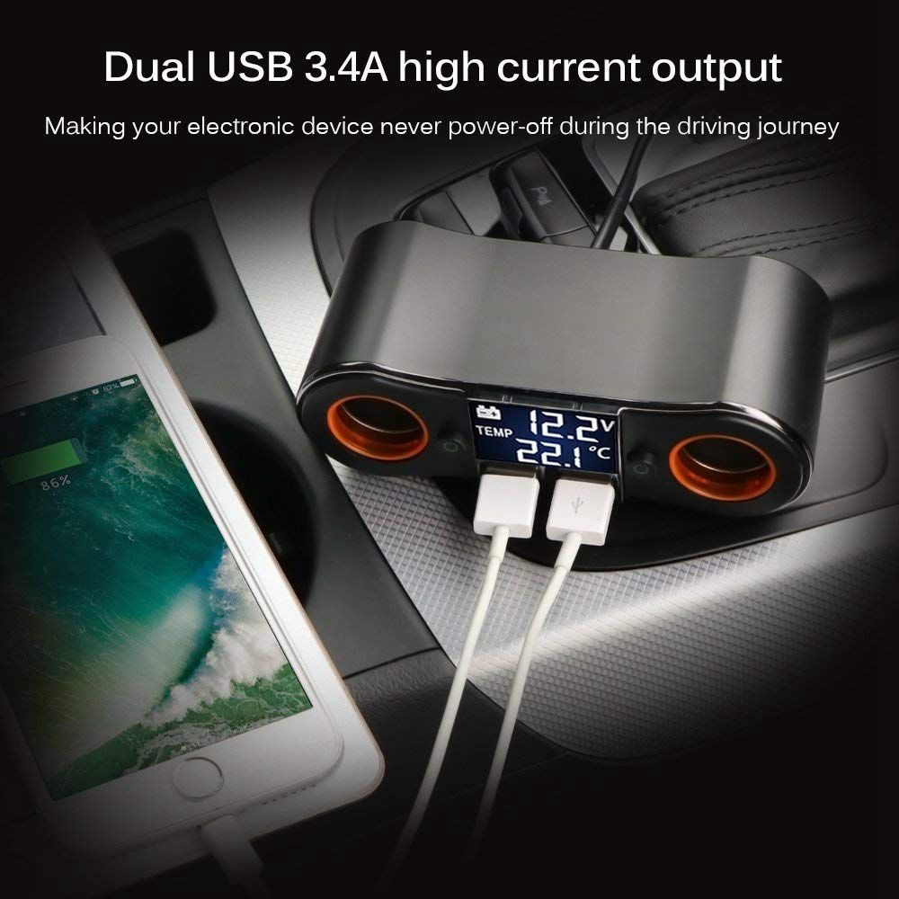 Image 5 - Socket Cigarette Lighter Splitter ZNB02 Car Charger Adapter 3.5A Dual USB Ports Support Volmeter / Temperature LED Display for-in Cigarette Lighter from Automobiles & Motorcycles