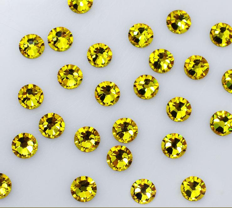 Top Quality SS3-SS34 Crystal Citrine / yellow Rhinestones 3D Nail Art Decorations Non Hotfix Glitter Flatback Rhinestones Stones feng shui natural citrine gem stone money tree 9 inch yellow crystal money tree