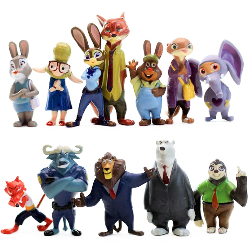 Zootopia action FigureToys 12Pcs/Set Nick Wilde Judy Hopps Kids Gift Doll Plastic Anime Action Figure Anime Toy WJ426 2016 zootopia figures keychain ring toys doll set 2016 new cartoon animal abbit judy hopps nick fox