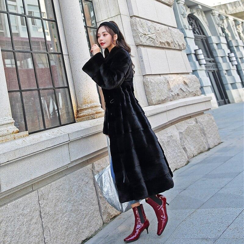 Женская бархатная шуба из норкового меха, женский комбинезон, пальто, верхняя одежда из норки, длинная юбка, тонкая талия