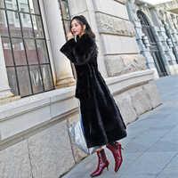 Frauen Kopenhagen samt natürliche nerz pelzmantel weibliche overalls mantel nerz oberbekleidung lange rock setzen taille dünne