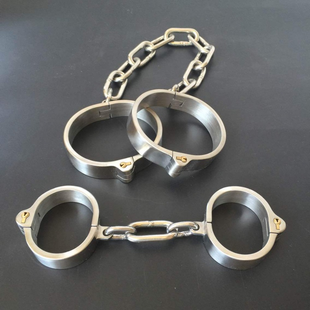 2Pcs/Set Stainless Steel Hand Ankle Cuffs Metal Bondage Restraints Adult Games Slave BDSM Handcuffs Leg Irons Fetish Sex Toys stainless steel metal hand cuffs bdsm fetish wear bondage restraints handcuffs for sex erotic toys adult game sex toys for women