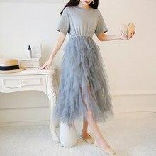 26c09c8c4e661 Gri, Siyah, Beyaz Ekleme Düzensiz Gazlı Bez örgü elbise Düz Renk Yaz Stil  Kadın