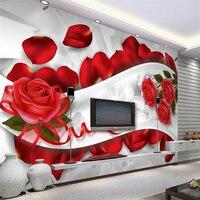 Beibehang Romantik ve güzel gül yaprakları 3D oturma odası TV zemin Özel büyük duvar yeşil ipek duvar kağıdı