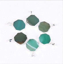 1PC Natural Agates Stone Charms Pendants Green Slice Agat Crystal Quartz Pendant DIY Fit Necklaces
